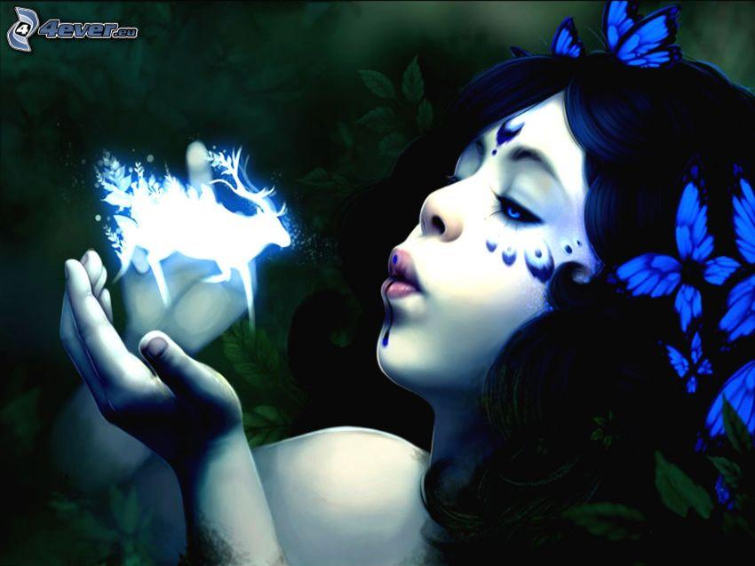 disegno di una ragazza, cervo, fantasma, farfalle blu