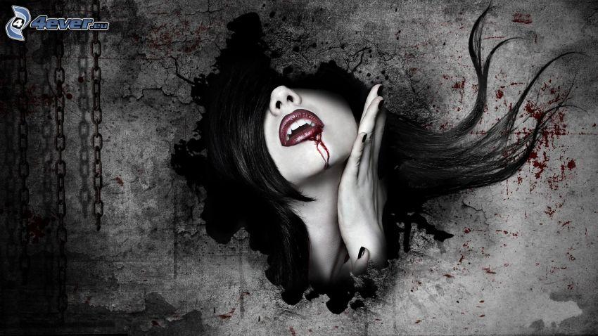 donna animata, sangue, mano