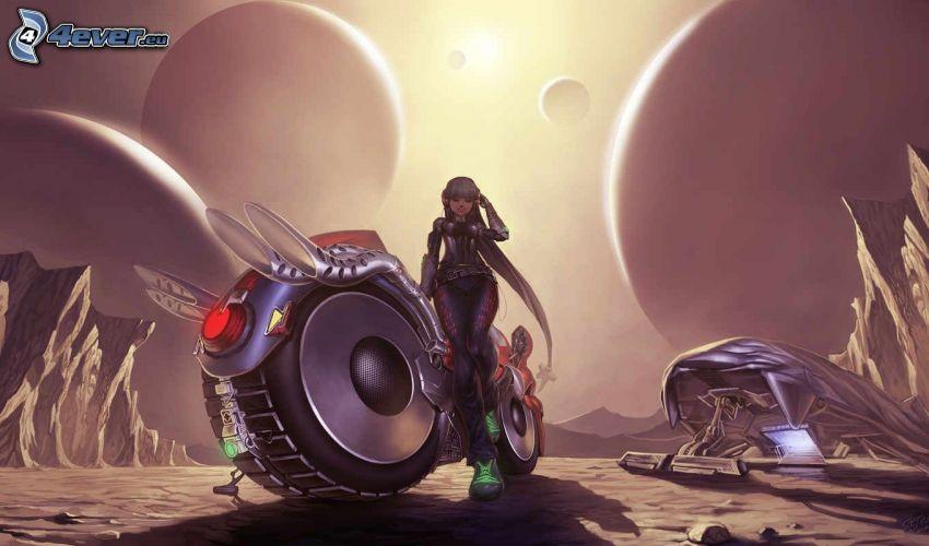 donna fantasy, motocicletta, paesaggio fantasy, pianeti