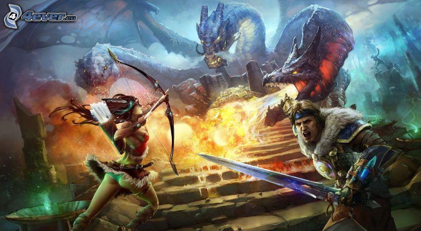 drago disegnato, fuoco, guerrieri fantasy