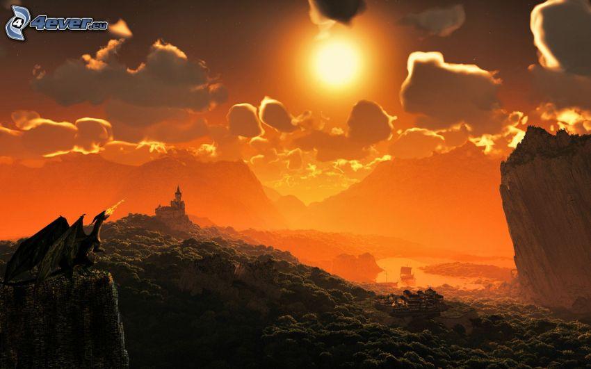 drago disegnato, tramonto arancio, nuvole