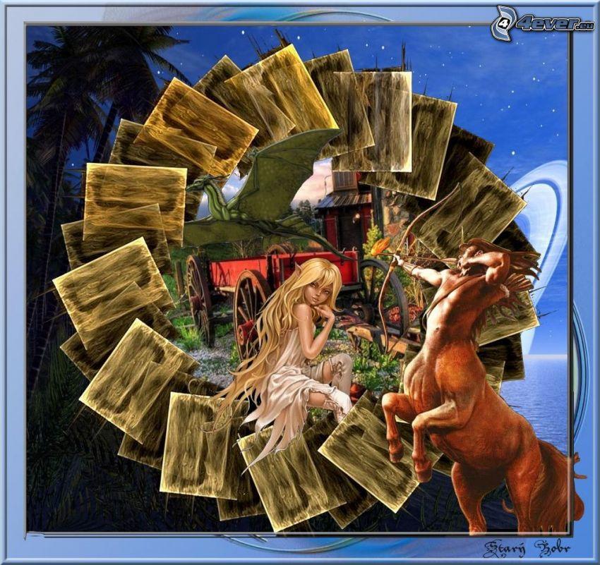 fata disegnata, centauro, drago, carrozza