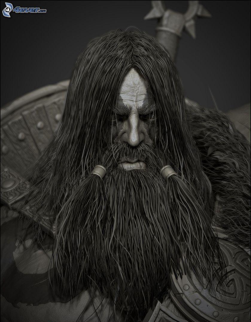 guerriero fantasy, barba