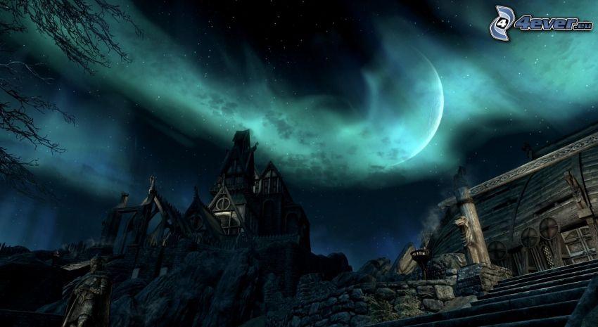 notte, luna, chiesa