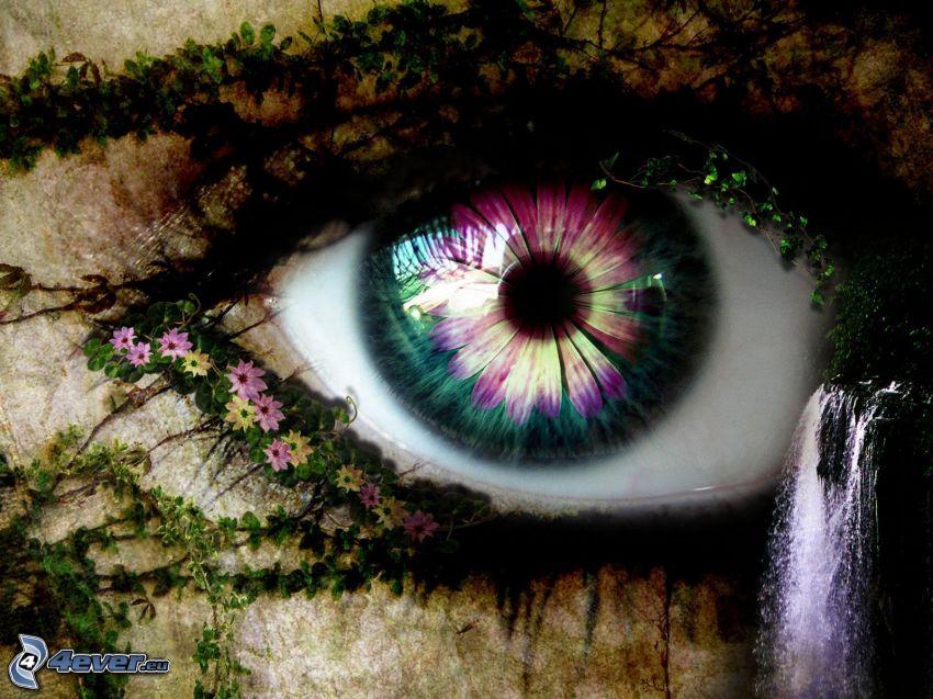 occhio astratto, fiori, cascata