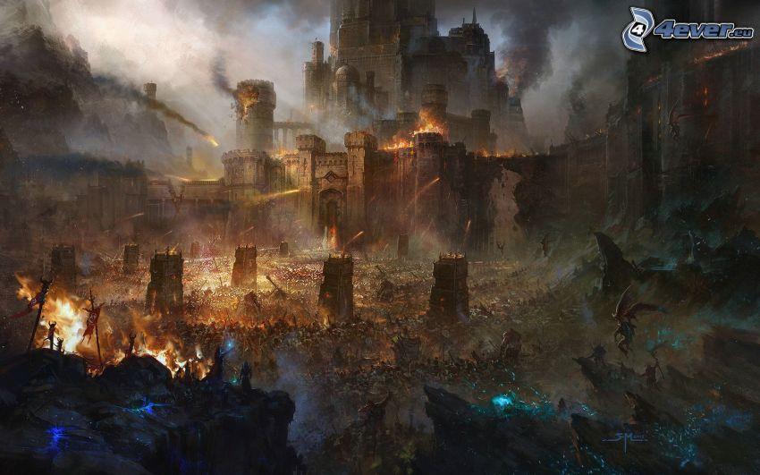 paesaggio fantasy, castello fantasy, battaglia, fuoco