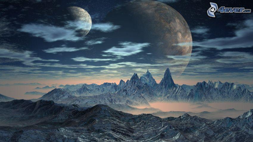 paesaggio fantasy, montagne innevate, lune