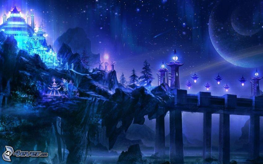 paesaggio fantasy, notte