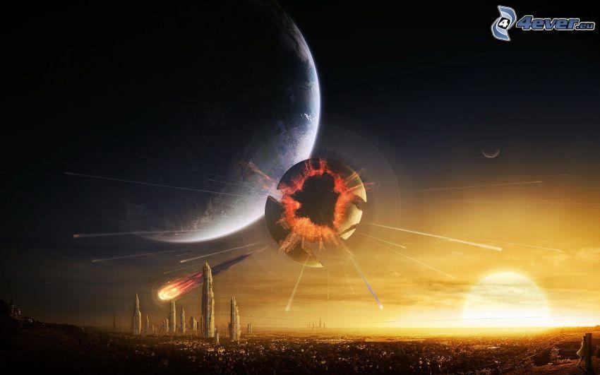 paesaggio fantasy, pianeta, esplosione