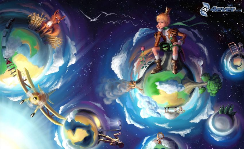paesaggio fantasy, principe, pianeti