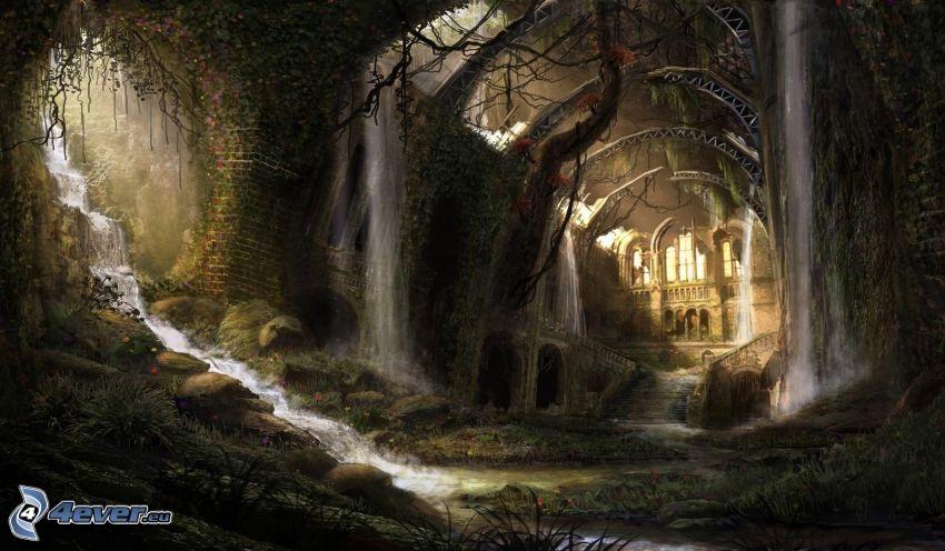 paesaggio fantasy, sotterraneo, cascate