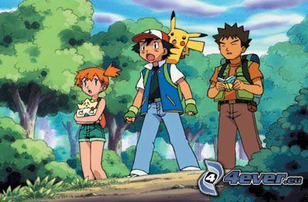 Pokémon, Misty, Ash, Brok, Pikachu, cartone animato, anime