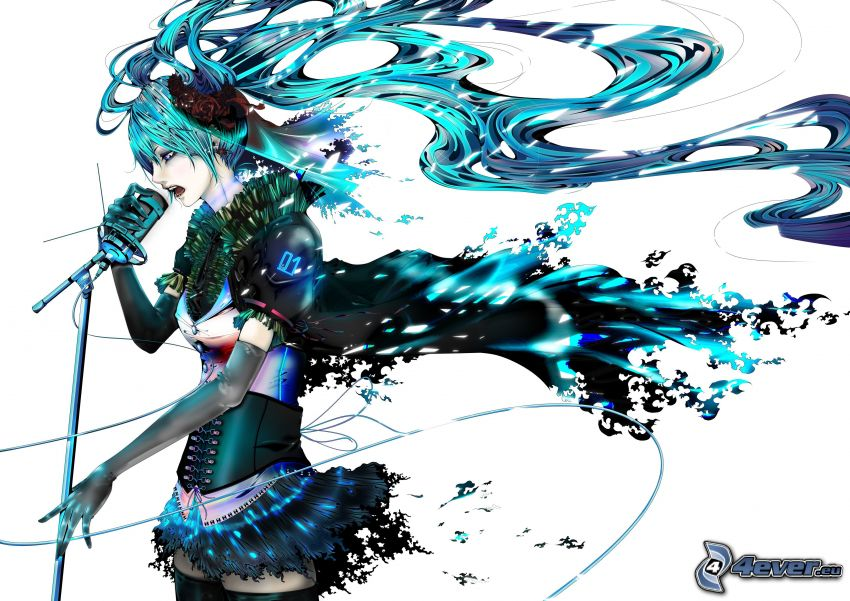 ragazza anime, cantante, capelli blu