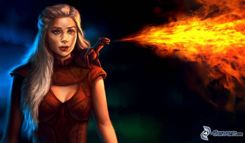ragazza anime, fuoco, drago