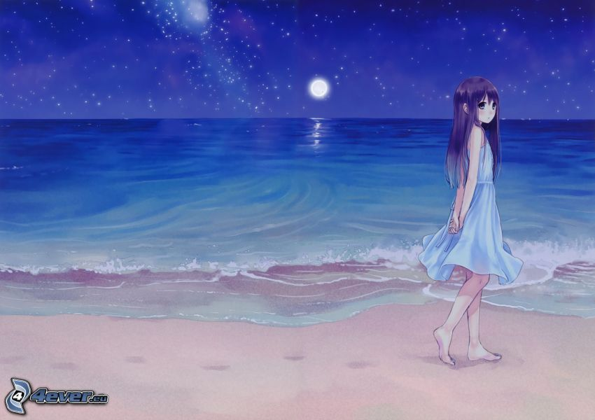 ragazza anime, mare, luna, spiaggia