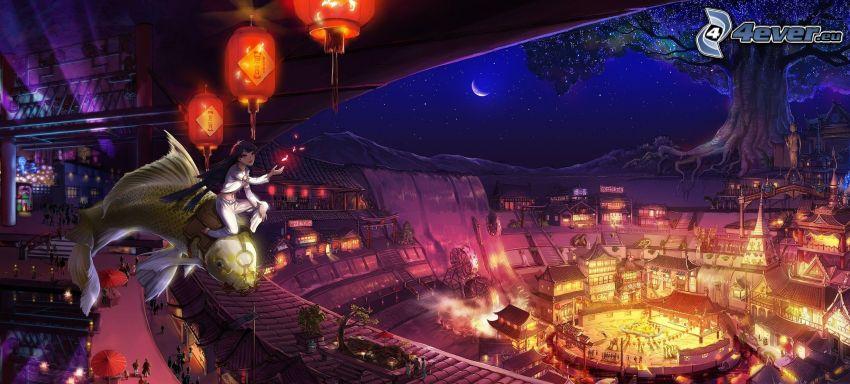ragazza anime, pesce d'oro, notte, vista della città
