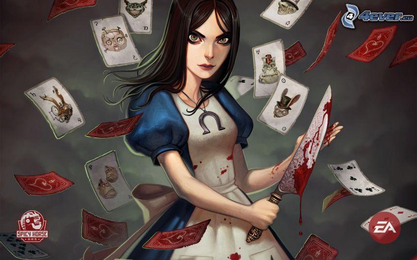 ragazza anime, pugnale, sangue, carte