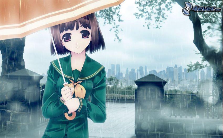ragazza anime, Ragazza sotto la pioggia