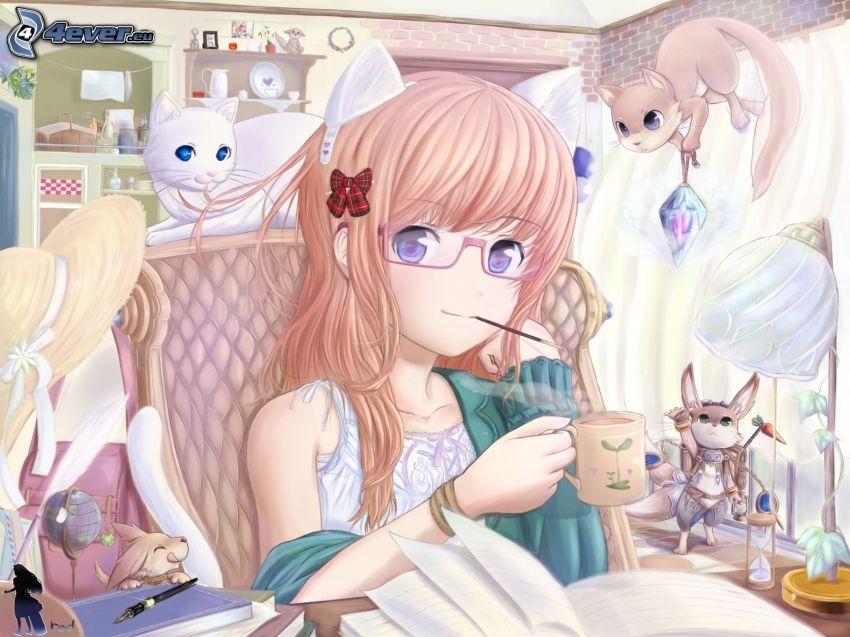 ragazza anime, tazza di tè