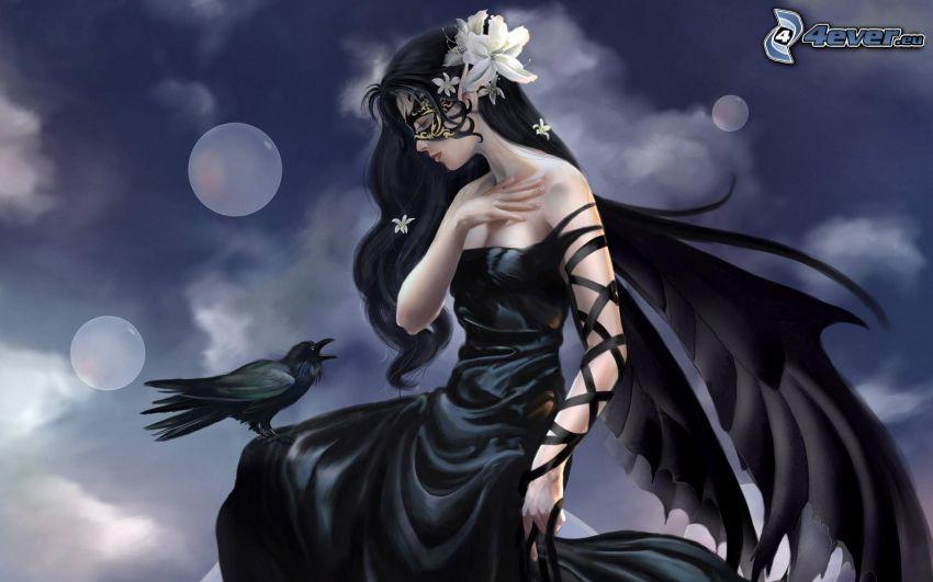 ragazza fantasy, abito nero, ali nere, cornacchia