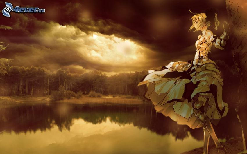 ragazza vicino al lago, nuvole