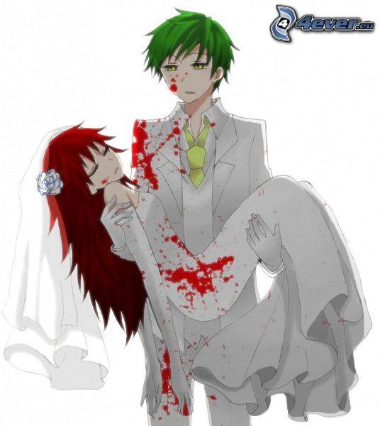 ragazzo e ragazza, sangue, tristezza