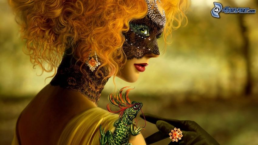 rosso, maschera, camaleonte