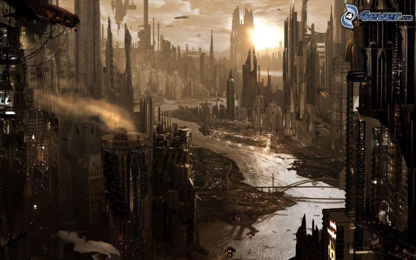 sci-fi città, grattacieli, il fiume