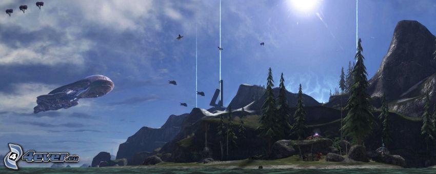 sci-fi paesaggio, pallone dirigibile