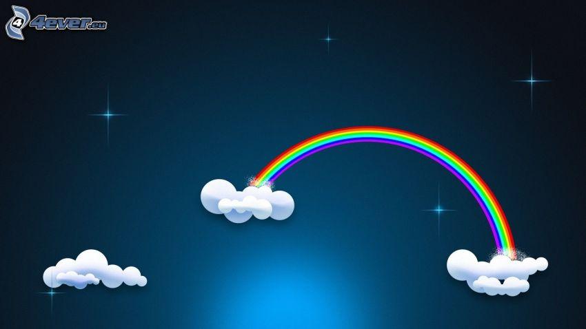 arcobaleno colorato, nuvole