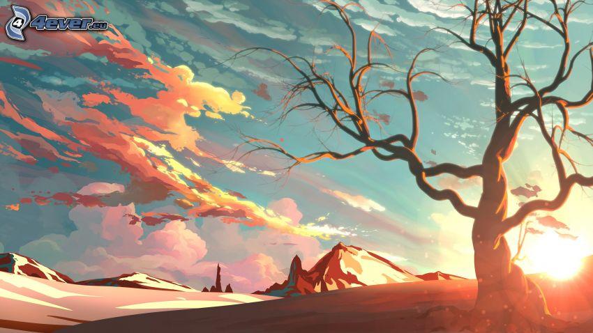 albero, tramonto, collina, nuvole