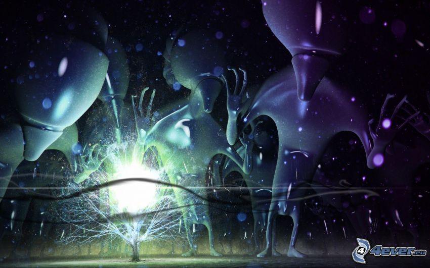 alieni, albero