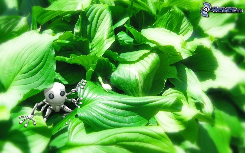 alieno, foglie verdi