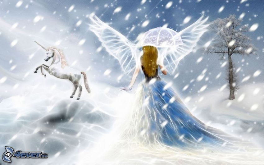 angelo, unicorno, neve