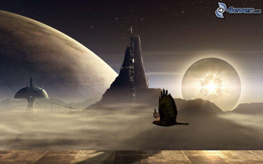 aquila, volo, pianeta, montagna