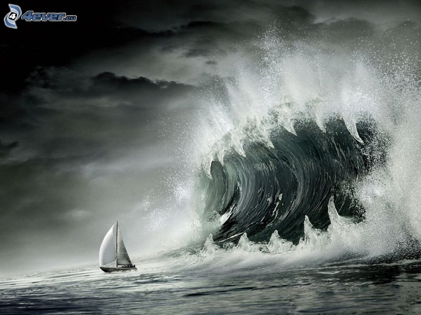 barca a vela, onda, denti, mare burrascoso