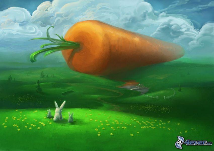 carote, coniglietti disegnati