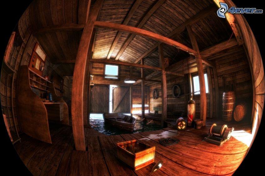 casa in legno, barca di legno, palla, HDR