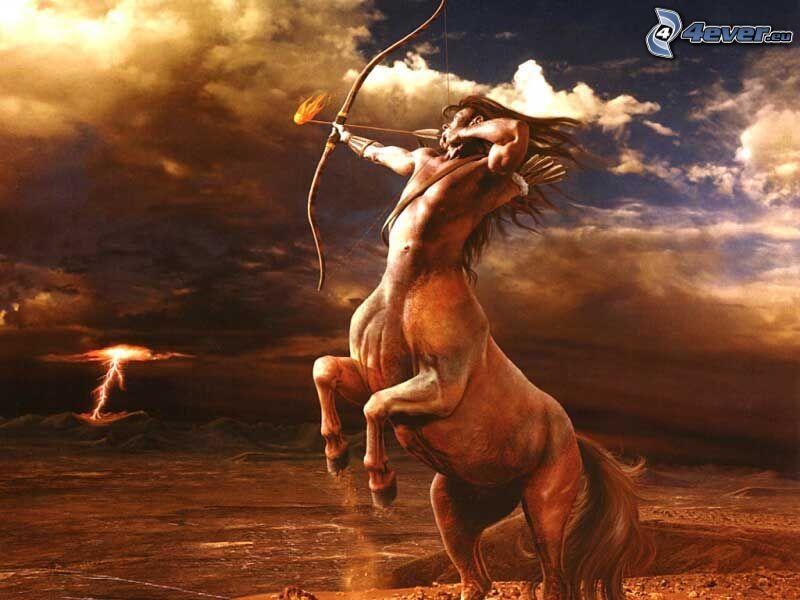 centaurus, guerra, arco, freccia infuocata, fulmine