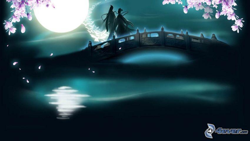 cinesi, luna piena, ponte pedonale, colombe, fiori