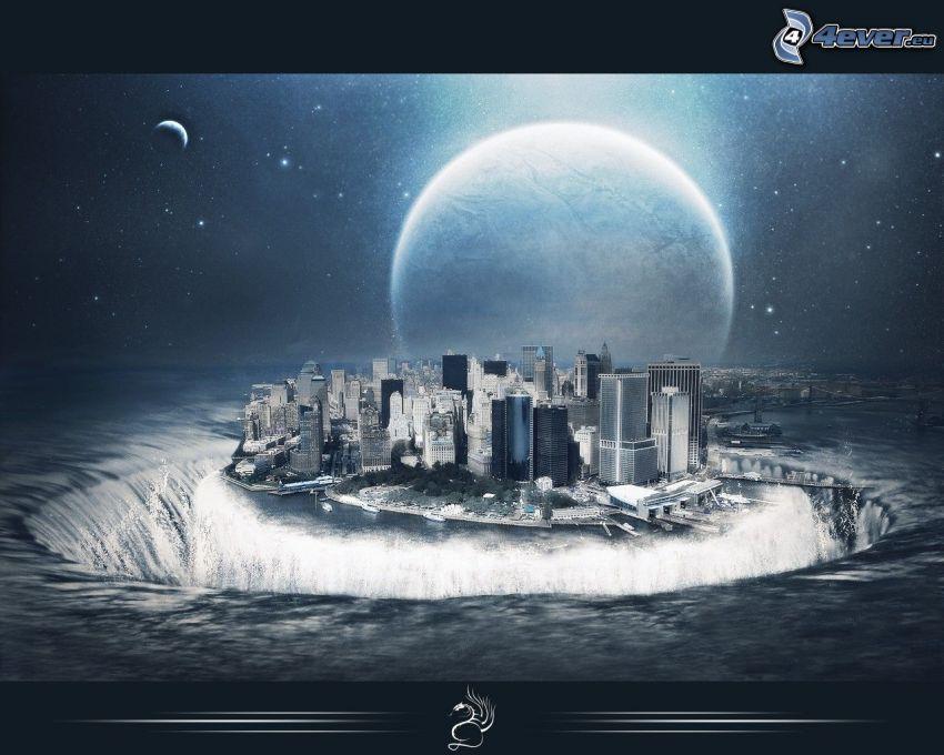 città, buco, mare, luna
