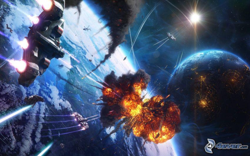 collisione nello spazio, esplosione, pianeta, nave spaziale, sole