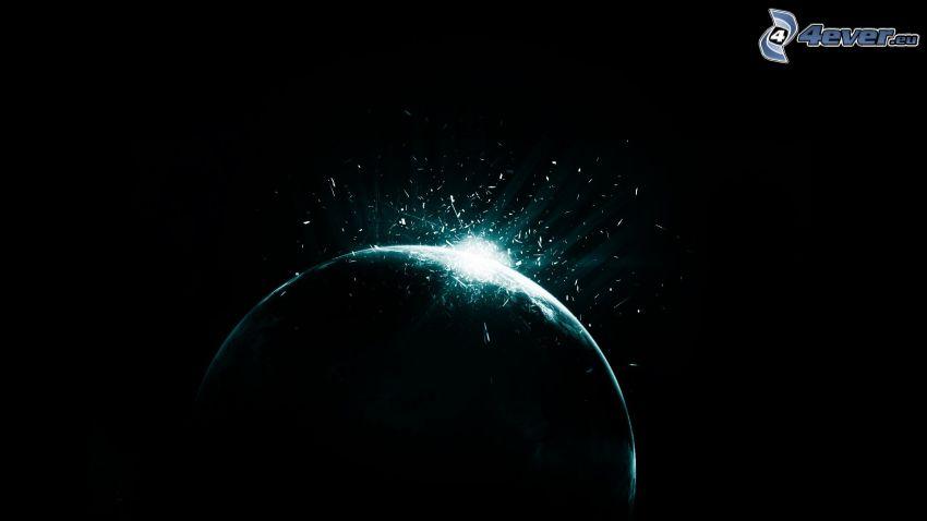 collisione nello spazio, esplosione nello spazio, pianeta
