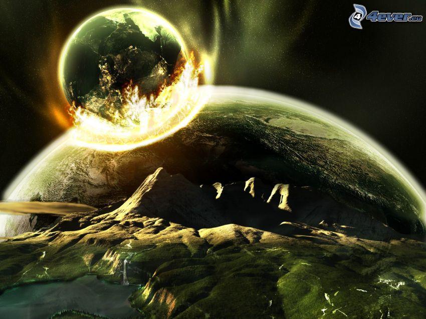 collisione nello spazio, pianeti, terraferma