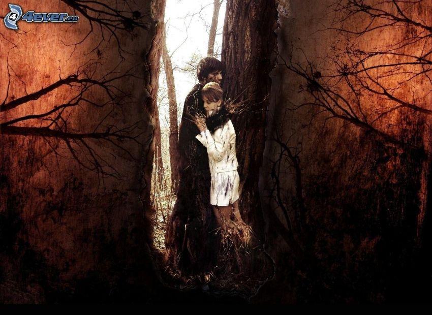 coppia, tristezza, tronco