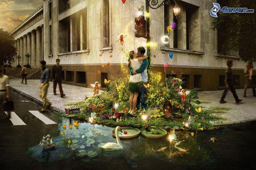coppia in un abbraccio, felicità, strada, collage
