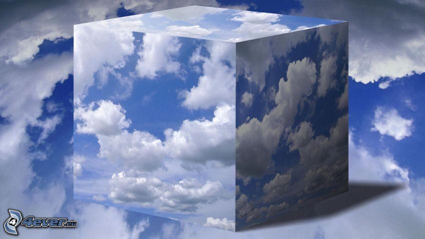 cubo, nuvole