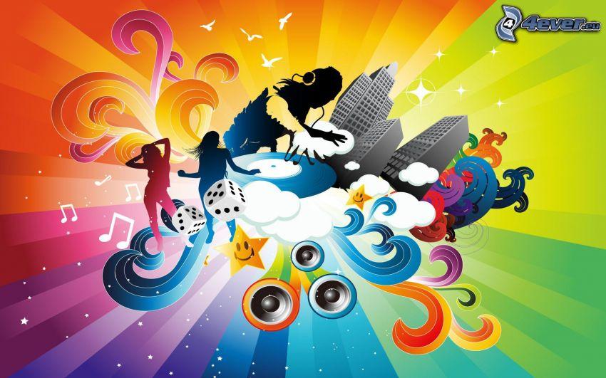 DJ, grattacieli, cubi, donne, strisce colorate