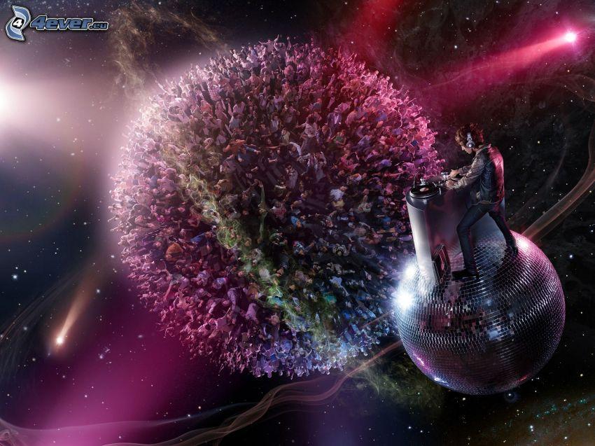 DJ, sfera disco, gente, palla, universo