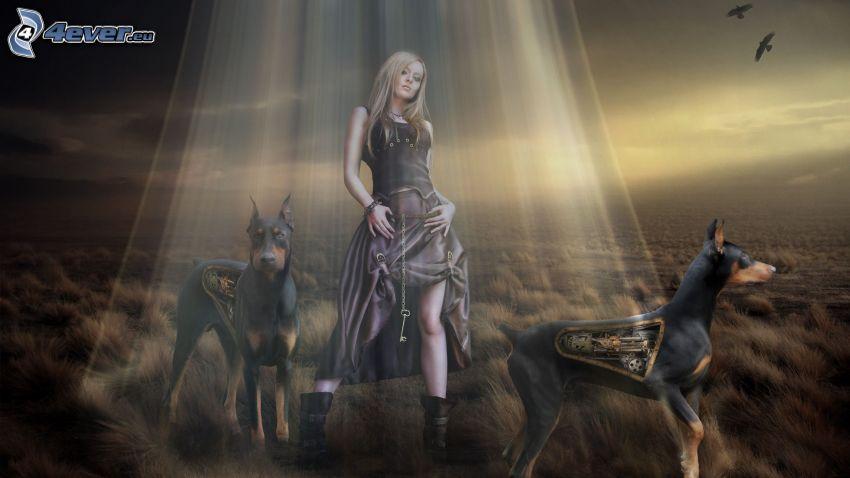 donna animata, dobermann, luce, animale meccanico